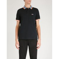 Contrast-collar cotton-piqué polo shirt