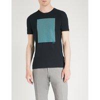 几何 打印 棉-球衣 吨-衬衫