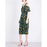 Whistles Elsie floral-print silk jumpsuit, Women's, Size: 6, Multi-coloured
