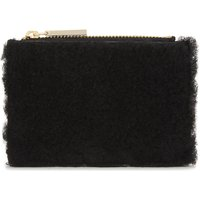 Shearling and leather coin purse