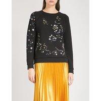 Constellation floral-embroidered cotton-jersey sweatshirt