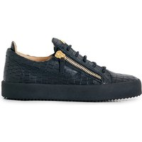 Croc-effect leather trainers