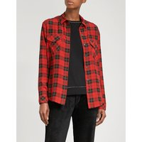 Shirt tartan-patterned silk shirt