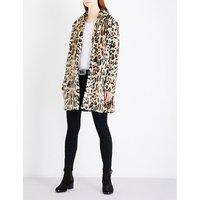 Leopard pattern faux-fur coat
