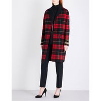 Embroidered-cuffs wool-blend coat