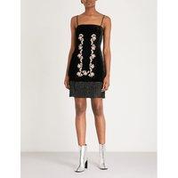 Rose-embroidery velvet dress