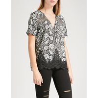 Beaded-detail floral chiffon top
