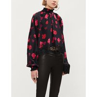 Rose-print silk blouse