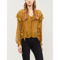 Polka dot ruffled silk-blend blouse