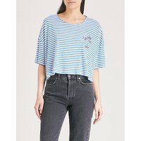 Palm-tree embroidered striped jersey T-shirt
