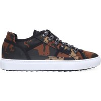 Camouflage-print canvas trainers