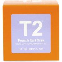 T2 Tea French earl grey loose leaf flavoured black tea gift cube 100g, Black