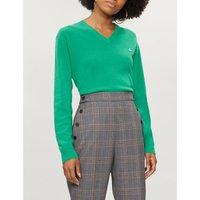 Unisex V-neck wool-blend jumper