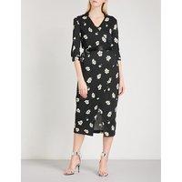 Floral-print woven wrap dress