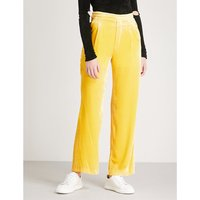High-rise flared velour trousers