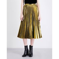 Golden pleated metallic midi skirt