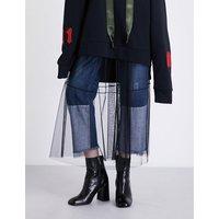 Sheer lace midi skirt