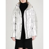 Metallic puffer and down-blend jacket