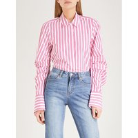 Striped ruched-sleeve cotton shirt