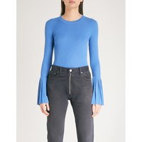 Pleated-cuff wool-blend jumper