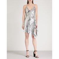 Asymmetric-hem sequin dress