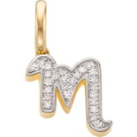 Monica Vinader 18ct yellow-gold vermeil and diamond alphabet pendant M, Women's