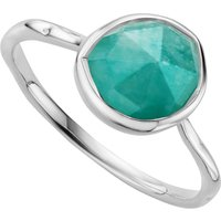 Monica Vinader Siren sterling silver and amazonite medium stacking ring, Size: K