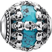 Skulls Turquoise sterling silver karma bead