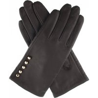 Button leather gloves