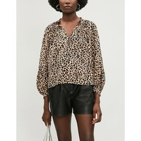 Theresa leopard print satin blouse