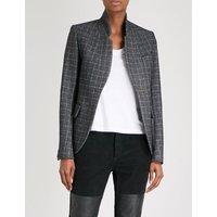 Very windowpane check wool-blend blazer