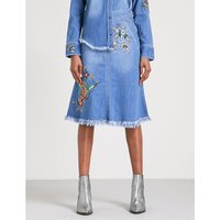 Jamille Deluxe embroidered stretch-denim skirt