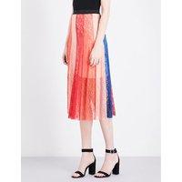 Maje Jupiter panelled lace skirt, Women's, Size: L, Multicolor