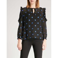 Floral-embroidered ruffled top