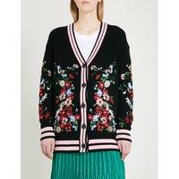 花的-绣花 针织的 羊毛衣