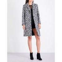 Maje Ladies Print Classic Garouny Leopard-Pattern Wool-Blend Coat, Size: 8