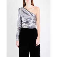 Loinita one-shoulder sequinned top