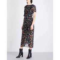 Floral-print ruffled chiffon dress