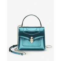Serpenti Forever metallic-leather shoulder bag