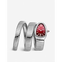 Bvlgari Serpenti Tubogas stainless steel and diamond watch, Women's