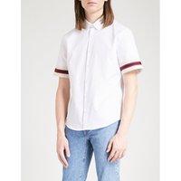 Striped-cuffs slim-fit cotton-poplin shirt