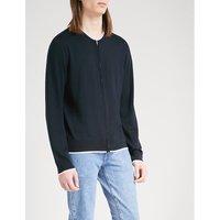 Striped-trims wool cardigan