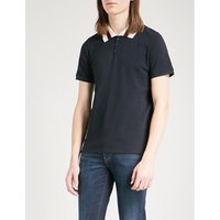 Striped collar cotton-piqué polo shirt
