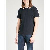Striped collar cotton-piqué polo shirt