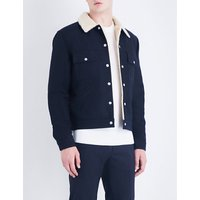Faux-shearling cotton-drill jacket