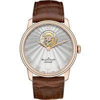BLANCPAIN | 66228-3642-55B Villeret Flying Carrousel 18ct rose-gold and alligator-leather watch | Goxip