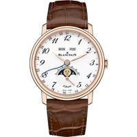 BLANCPAIN | 6639A363155B 18ct rose gold and leather watch | Goxip