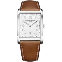 BAUME & MERCIER | Baume & Mercier Hampton 10153 polished steel and leather watch, Mens, White | Goxip