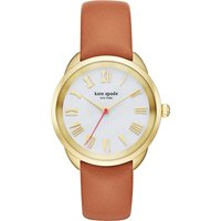 Kate Spade KSW1063 Crosstown gold and leather watch, Women's