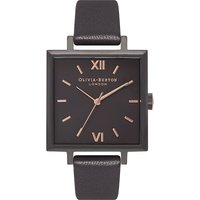 Quartz black dial leather strap watch